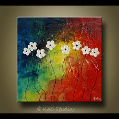 Abstract White Flower Painting by KAG. $99.00, via Etsy.