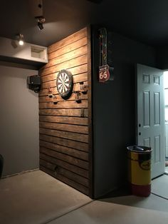 Our dart board wall! Our dart board wall! Small Basement Bedroom, Game Room Basement, Man Cave Basement, Man Cave Garage, Basement Walls, Basement Ideas, Basement Bathroom, Walkout Basement, Man Cave Bathroom