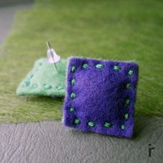 violet and green felt square earrings, raspberi jewellery