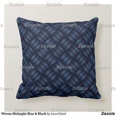 Shop Woven Steel Blue Black Throw Pillow created by LeonOziel. Black Throw Pillows, Decorative Throw Pillows, Custom Pillows, Midnight Blue, Knitted Fabric, Weaving, Steel, Knitting, Tricot