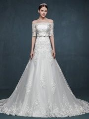Hot Selling Lace Wedding Dress With Short Sleeves For Bride A-line Off-shoulder Women Dresses
