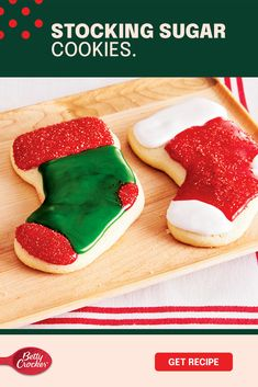 Nothing says it's the holidays more than stockings full of sweet things and good times. Now it's time to make your own while making a lot of memories along the way. Bake these exciting Stocking Sugar Cookies using Gold Medal Flour, and then bring out the Betty Crocker decorations. Everything from sprinkles to icings in all kinds of colors! Let your kids lead the way to fantastic-tasting cookies that might not look perfect, but are perfect because of it. Yummy Eats, Yummy Food, Chocolate Toffee, Cookie Icing, Shaped Cookie, Dessert For Dinner, Betty Crocker, Along The Way, Cookie Decorating