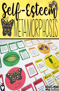 Self-esteem Metamorphosis Game Elementary School Counseling, School Social Work, School Counselor, Counseling Crafts, Group Counseling, Counseling Office, Social Work Activities, Therapy Activities, Therapy Ideas