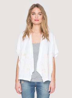 Johnny Was Clothing JWLA embroidered Pandora Linen Draped Poncho Jacket in White