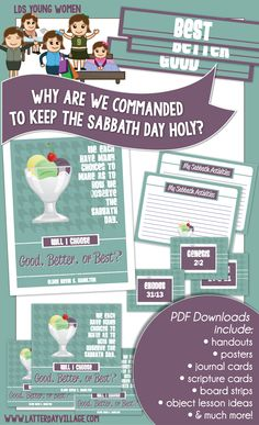 "September LDS YW LESSON HELPS for ""Why is it important to keep the Sabbath day holy?"" Come, Follow Me September: Commandments. All can be found at www.LatterDayVillage.com"
