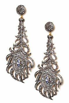 Champagne Diamond & Tanzanite Feather Chandelier Earrings