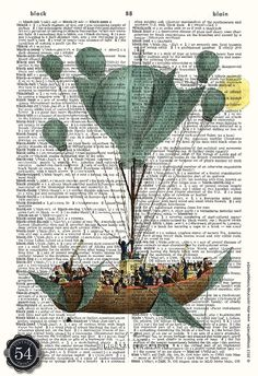 Vintage Dictionary Art Balloon Print Flying Machine Vintage Hot Air Balloon Drawing Upcycled Book Art Recycled Book Page Home Decor Wall Art