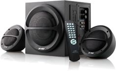 F&D A111F 2.1 channel speakers. Canopies The Online Store Features:  35 RMS output 3000W PMPO Four-inch full range driver for satellite speaker and for sub-woofer speaker. Connect SD Cards or MMC cards direct to the speaker. The USB reader decodes and supports both MP3 and WMA formats
