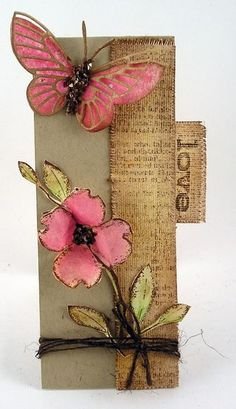 little tall and thin card made from delightful pin and kraft scraps... Memory Box butterfly dies...enchanting...