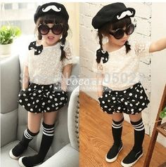 Free Shipping 2015 New Baby Girls Sets summer Girls Clothing Set  lace T shirts + dots pants set Children 2pcs Suit Retail - http://www.aliexpress.com/item/Free-Shipping-2015-New-Baby-Girls-Sets-summer-Girls-Clothing-Set-lace-T-shirts-dots-pants-set-Children-2pcs-Suit-Retail/32312875173.html