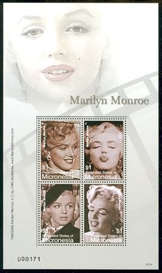Marilyn Monroe Mint Sheet of Four $1 Stamps Micronesia, 2007
