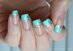 Mint french manicure with silver glitter