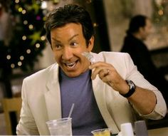 In the movie Christmas with the Kranks Tim Allen's character gets botox to look younger. Ironically in an effort to look young, happy and energetic the botox numbs his face leaving him unable to relax his face and even eat food.