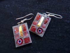 mosaic earring gold red murrina di MOSAICANDARTS su Etsy