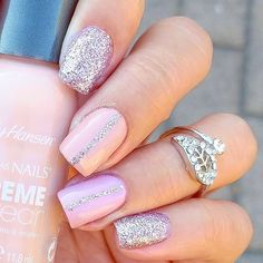 Would you try Timeless Nude and Pink Nails by minimanimom? Vote on Preen. Silver And Pink Nails, Pink Glitter, Glitter Nails, Birthday Nails, 10th Birthday, Birthday Ideas, Birthday Cake, Get Nails, Color Street Nails
