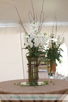 Wedding Decor: rustic and lush centerpiece with willow and succulents - AnnaBelle Events