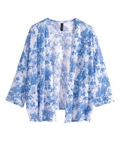 Loose, fine-knit cardigan with 3/4 sleeves & pretty pastel blue floral print. | H&M Pastels