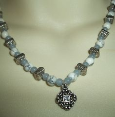 Elegant White Turquoise & Gray Glass by GrammyKayesCreations