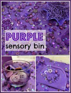 rubberboots and elf shoes: purple sensory bin