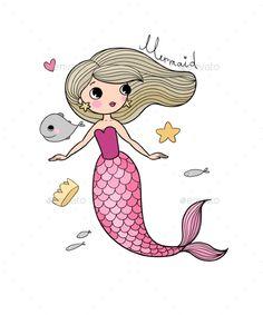 Buy Cartoon Little Mermaid by Chetkova on GraphicRiver. Cute cartoon little mermaid. Mermaid Diy, Cute Mermaid, Baby Mermaid, The Little Mermaid, Mermaid Cartoon, Girl Cartoon, Cute Cartoon, Cartoon Ideas, Mermaid Drawing Tutorial