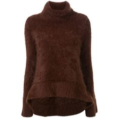 Scanlan Theodore Super Angora Trapeze Sweater (1.080 BRL) ❤ liked on Polyvore featuring tops, sweaters, brown, angora sweater, trapeze sweater, brown tops, brown sweater and swing sweater