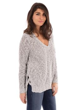 PULLOVER SWEATER WITH CRISS CROSS SIDE #greysweater #knits #fashion #style #fashiontrends #newtrends #ss17 #ootd #newarrivals