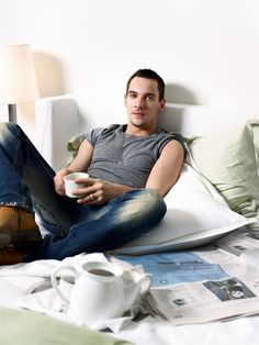 !? Perfect way to start (or end!) a day: tea, newspaper, and Jonathan Rhys Meyers in my bed! :D