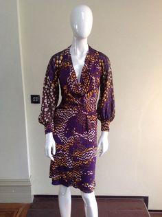 Issa Purple Patterned Silk Dress Size UK 10