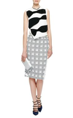 Paneled Tweed and Re-Embroidered Lace Skirt by Thom Browne - Moda Operandi
