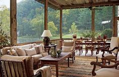 Suzanne Kasler : Smokey Mountains cabin : The Enchanted Home: Dream screened-in porch. (Screened cabin on the edge of the lake) Architectural Digest, Cabin Design, House Design, Casa Patio, Deck Patio, Haus Am See, Cabin In The Woods, Enchanted Home, Lake Cottage