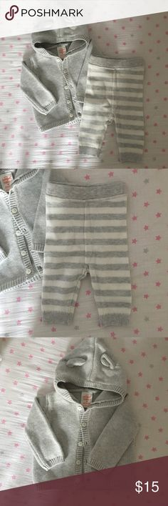 NWOT Organic Newborn take home outfit unisex Perfect newborn take home outfit! Great knit sweater button up with bear ear details. Grey and white striped knot pants with elastic waist. Brand is cat and jack. Made with organic cotton! NWOT!! Cat & Jack Matching Sets
