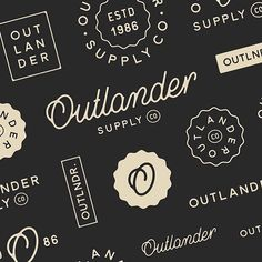 A vast array of design exploration for the branding work I did for Outlander Supply Co. - it was very challenging to decide on a final concept. Typography Logo, Graphic Design Typography, Graphic Design Illustration, Outlander, Brand Identity Design, Branding Design, Logo Branding, Logo Inspiration, Design Minimalista