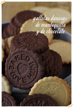 Galletas danesas de mantequilla y de chocolate de Con las Zarpas en la Masa. Para cortar, pistola, manga...