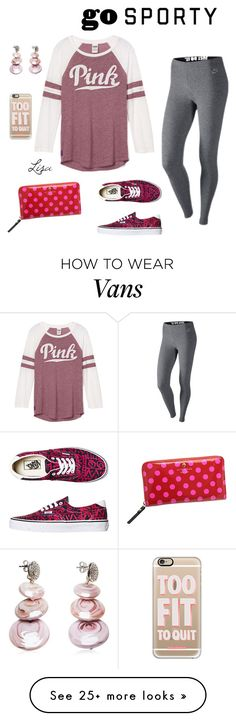 """""""GO Sporty"""" by coolmommy44 on Polyvore featuring Kate Spade, Vans, NIKE, Antica Murrina, Casetify, polyvorecontest and sportystyle"""