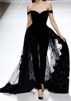 2017 Gorgeous Off Shoulder Black Jumpsuit Evening Dresses Beaded Appliqued Tulle Overskirts Red Carpet Dresses Formal Party Dress Off Shoulder Black Evening Dresses Off Shoulder Black Jumpsuit Prom Dress Appliqued Tulle Overskirts Formal Gowns Online with $146.29/Piece on Yaostore's Store   DHgate.com