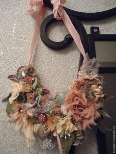 """Купить Колье """"Розовый сад"""" - розовый, колье, текстильное колье, колье текстильное, розовое колье"""