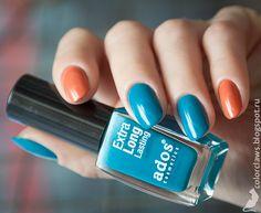 Orange & teal manicure!