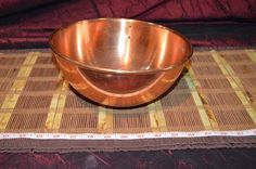 "Vintage Tagus Portugal Heavy Copper Mixing Bowl w/ Brass Ring 9 1/8""x4 1/2"""