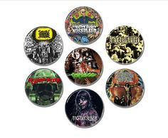 Grindcore band buttons set 7!  #buttons #badges #pins #grindcore #heavymetalpatch #napalmdeath #agoraphobicnosebleed #terrorizer #carcass