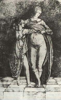 Zoan-Andrea (1464-1526) - Due donne (incisione).