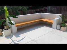Concrete Garden Bench, Concrete Backyard, Small Backyard Landscaping, Corner Garden Seating, Outdoor Corner Bench, Outdoor Couch, Outdoor Fire, Outdoor Living, Limestone Patio