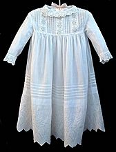 ANTIQUE Doll Clothes Dress LACE Embroidery, Whitework FLOWERS, Mother Of Pearl Buttons c.1890's!