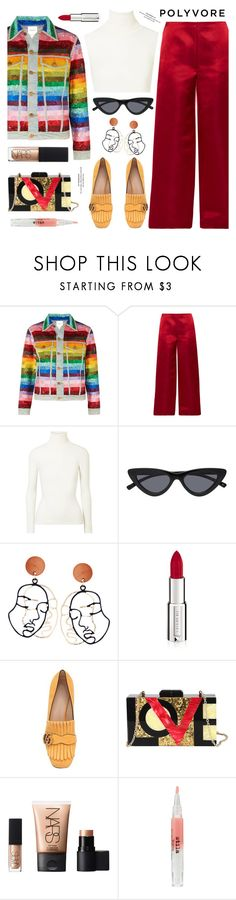 """Untitled #789"" by kawrose02 ❤ liked on Polyvore featuring Ashish, The Row, JoosTricot, Givenchy, Gucci, Diophy, NARS Cosmetics, Stila, Color and gucci"