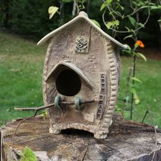 """Love Shack"" birdhouse. Hand built, made of stoneware. By Cherie Giampietro."