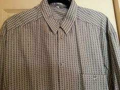 Black Tan Shirt Size Large 100% Cotton Small Squares  Chest Pocket Zanella #Zanella #ButtonFront