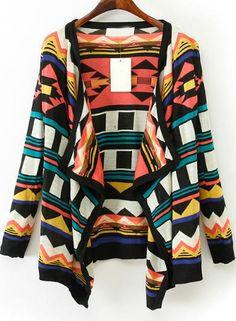 Black Red Long Sleeve Geometric Pattern Cardigan 21.50