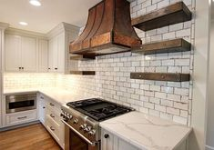Copper Hood with Reclaimed Wood Shelves Designed by AKB