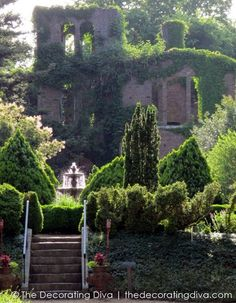 Splendid gardens located at Barnsley Gardens Resort. The old building covered with ivy and the sparkling Old World fountain create the perfect backdrop for this romantic and enchanting garden.