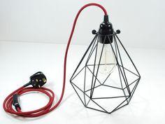 2m Vintage Industrial Black Diamond Pendant Wire Cage Desk Side Lamp & Bulb