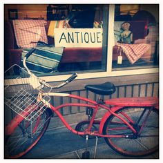 Need: find a junker bike (the one pictured is not a junker) to create outdoor planter! penseroso   Antique   retro vintage antique + bike window red blue brown tan